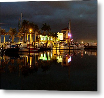Evening At The Marina Metal Print by Kimberly Camacho