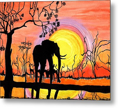 Evening At The Pond Metal Print by Connie Valasco