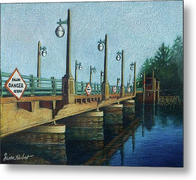 Metal Print featuring the painting Evening, Bayville Bridge by Susan Herbst