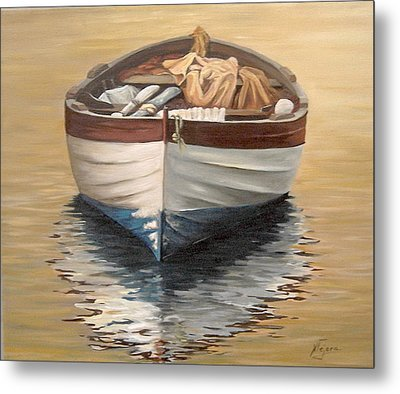 Metal Print featuring the painting Evening Boat by Natalia Tejera