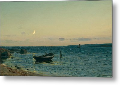 Evening By The Sea Metal Print by Amaldus Nielsen