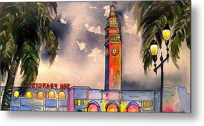 Evening Comes Ferry Building Metal Print