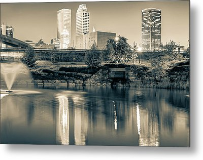 Evening Falls On Tulsa Skyline In Sepia Metal Print by Gregory Ballos