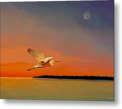 Metal Print featuring the painting Evening Flight by David  Van Hulst