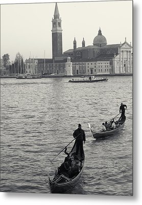 Evening Gondoliers, Venice, Italy Metal Print
