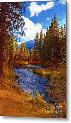 Evening Hatch On The Metolius River Painting 2 Metal Print by Diane E Berry