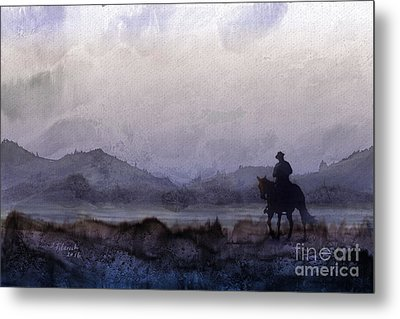 Evening Horseback Ride Metal Print