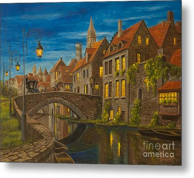 Evening In Brugge Metal Print by Charlotte Blanchard