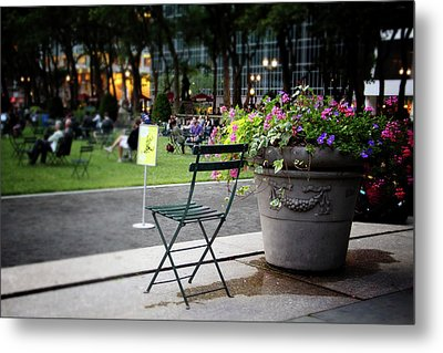 Evening In Bryant Park- Photography By Linda Woods Metal Print