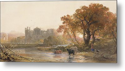 Evening In Italy, The Deserted Villa Metal Print