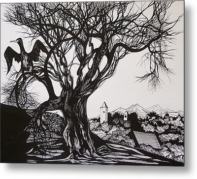 Metal Print featuring the drawing Evening In Midnapore by Anna  Duyunova