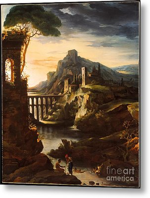 Evening Landscape With An Aqueduct Metal Print by Celestial Images