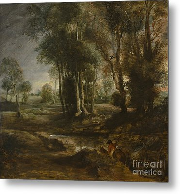 Evening Landscape With Timber Wagon Metal Print by Celestial Images
