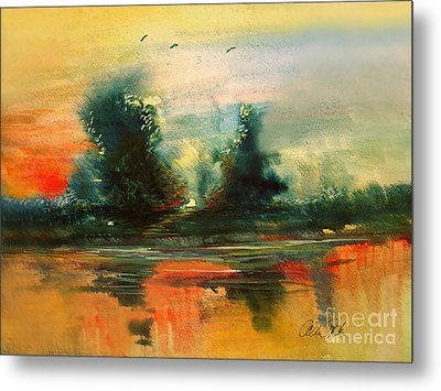 Metal Print featuring the painting Evening Light by Allison Ashton