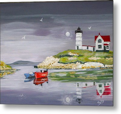 Metal Print featuring the painting Evening Lighthouse by Phyllis Kaltenbach