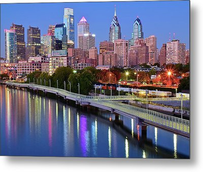 Metal Print featuring the photograph Evening Lights On The Delaware by Frozen in Time Fine Art Photography