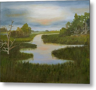 Evening Marsh Metal Print by Shirley Lawing