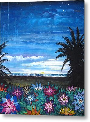 Metal Print featuring the painting Tropical Evening by Mary Ellen Frazee