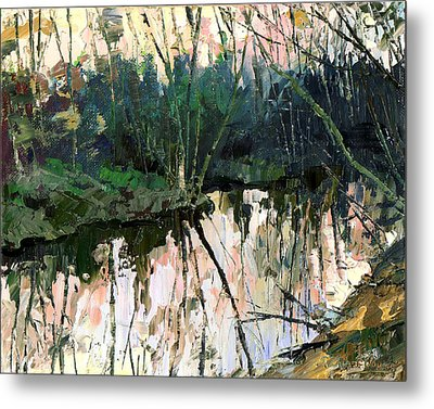 Metal Print featuring the painting Evening On A Spring River by Sergey Zhiboedov