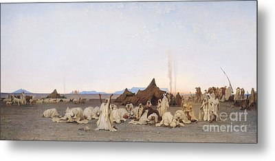Evening Prayer In The Sahara Metal Print by Gustave Guillaumet