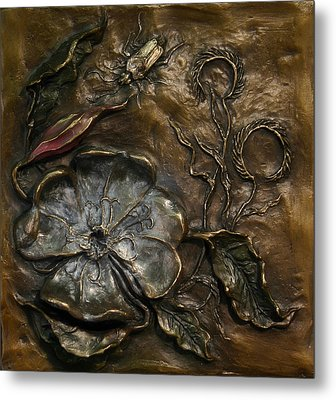 Metal Print featuring the sculpture Evening Primrose by Dawn Senior-Trask