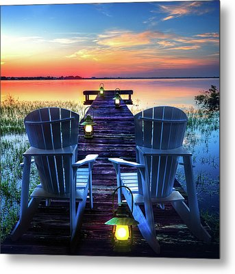 Metal Print featuring the photograph Evening Romance by Debra and Dave Vanderlaan