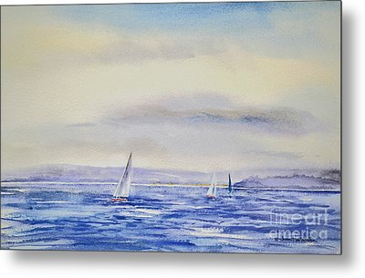 Evening Sail On Little Narragansett Bay Metal Print by Joan Hartenstein
