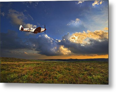 Metal Print featuring the photograph Evening Spitfire by Meirion Matthias