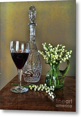Evening Wine And Flowers  Metal Print