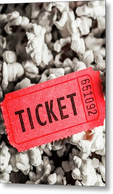 Event Ticket Lying On Pile Of Popcorn Metal Print by Jorgo Photography - Wall Art Gallery
