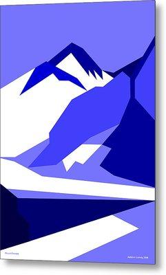 Everest Blue Metal Print by Asbjorn Lonvig