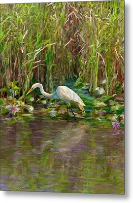 Metal Print featuring the painting Everglades Hunter by David  Van Hulst