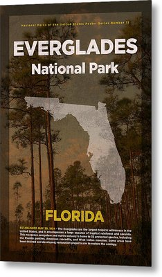 Everglades National Park In Florida Travel Poster Series Of National Parks Number 15 Metal Print by Design Turnpike