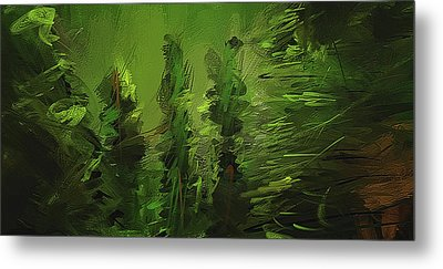 Evergreens - Green Abstract Art Metal Print by Lourry Legarde