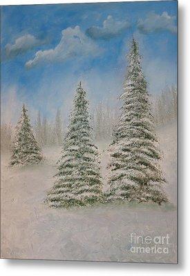 Evergreens In Snow  Metal Print
