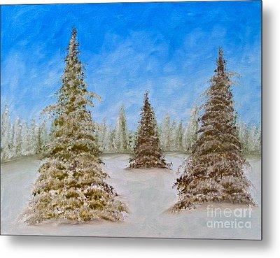 Evergreens In Snowy Field Enhanced Colors Metal Print