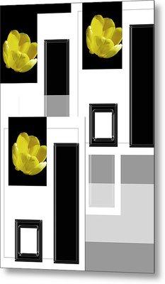 Everything Yellow White Black Metal Print