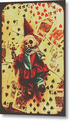 Evil Clown Doll On Playing Cards Metal Print