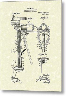 Evinrude Boat Motor 1911 Patent Art Metal Print by Prior Art Design