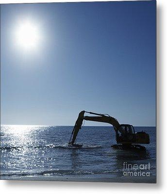 Excavator Digging In The Ocean Metal Print by Skip Nall