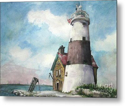 Metal Print featuring the painting Execution Rocks Lighthouse by Susan Herbst