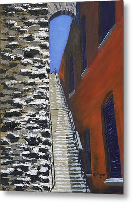 Exorcist Stairs In Winter Metal Print by Alan Mager