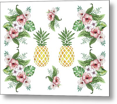 Metal Print featuring the painting Exotic Hawaiian Flowers And Pineapple by Georgeta Blanaru