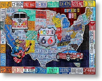 Explore The Usa License Plate Art And Map Travel Collage Metal Print by Design Turnpike