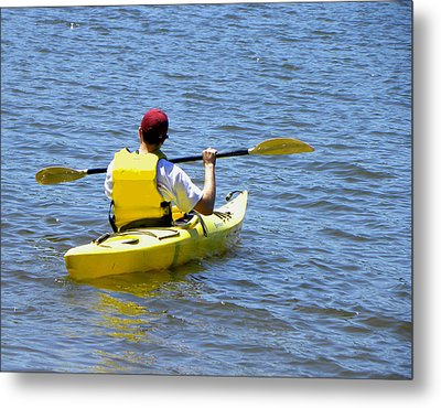 Metal Print featuring the photograph Exploring In A Kayak by Sandi OReilly