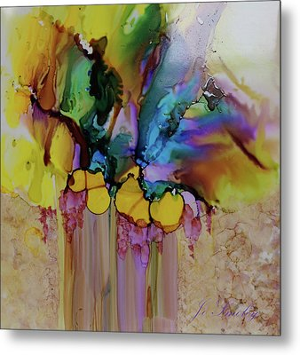 Metal Print featuring the painting Explosion Of Petals by Joanne Smoley