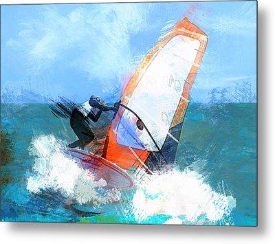 Expressionist Orange Sail Windsurfer  Metal Print by Elaine Plesser