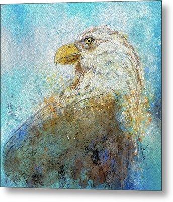 Expressive Bald Eagle Metal Print