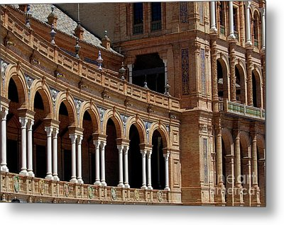 Exterior View Of The Plaza De Espana In Seville Metal Print by Sami Sarkis