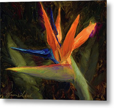 Metal Print featuring the painting Extravagance - Tropical Bird Of Paradise Flower by Karen Whitworth